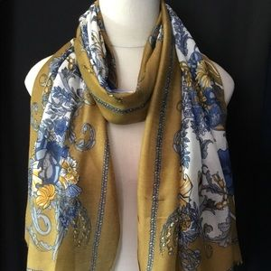 Accessories - Mustard Floral Print Lightweight Oblong Scarf
